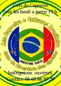 1er stage de Capoeira de la flèche organisez par Mestre Tato et  participation spéciale du gran Mestre Aranha qui vient de Rio de Janeiro comme chaque année pour son tour en Europe il visite les école de capoeira qu'il connait! pont-vallent-212x300